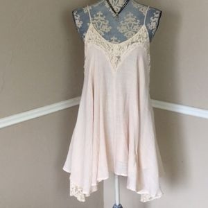 Ivory Peach Lace Slip Spaghetti Strap Backless